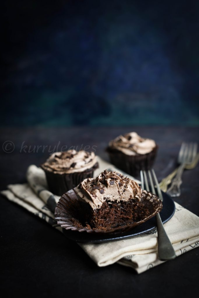 chocolate cupcake with chocolate buttercream frosting