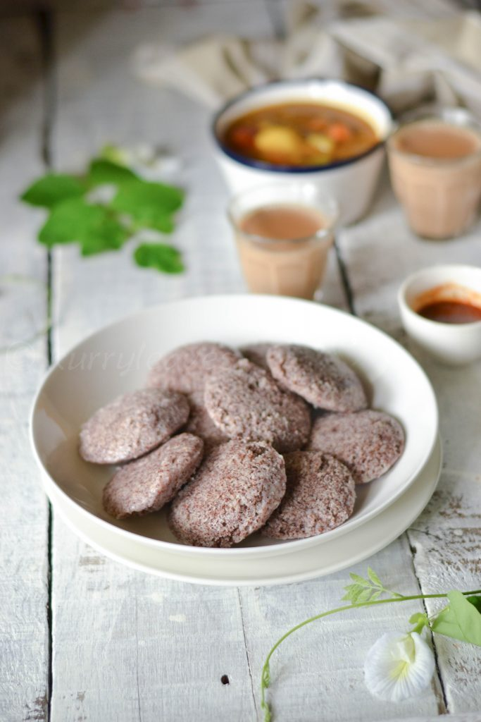 Ragi idli with sambar chutney and tea