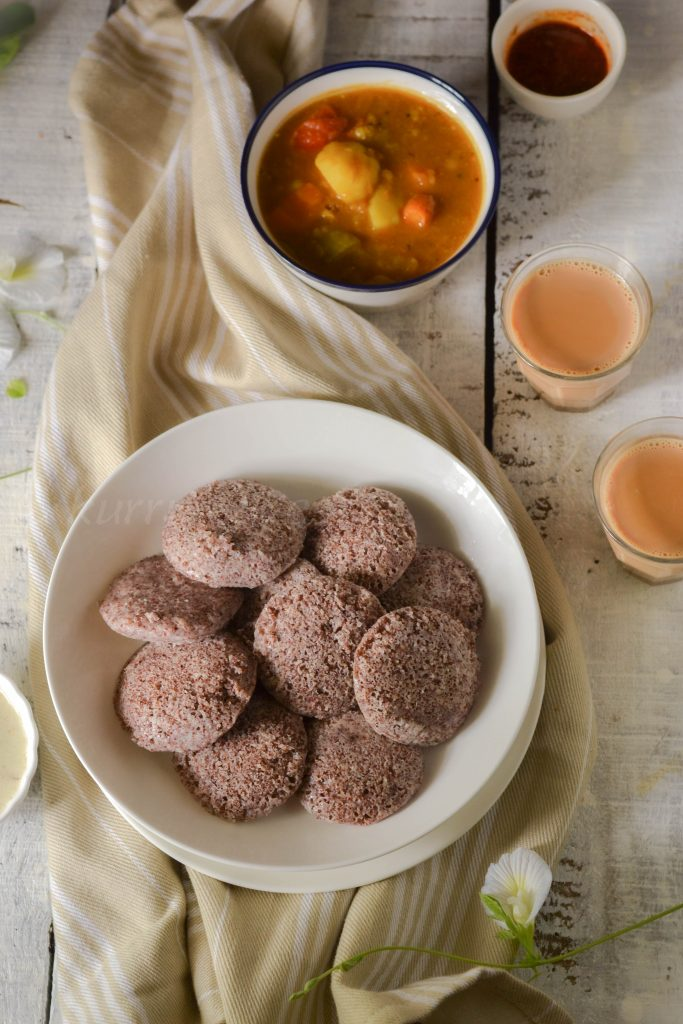 ragi idli with tea sambar and chutney