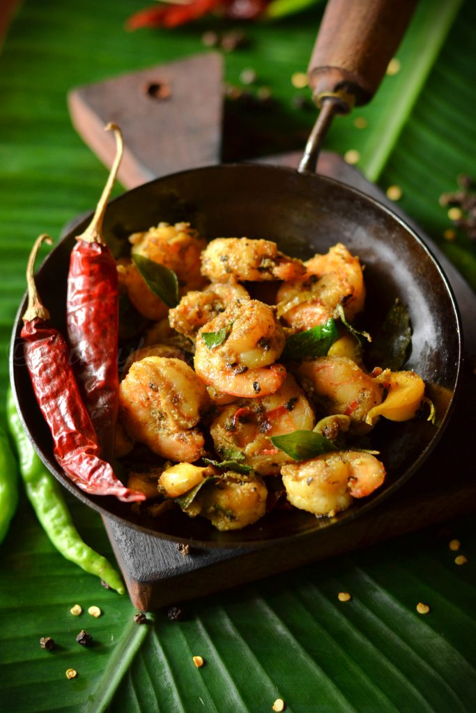 Kerala style grilled prawns with red chilies