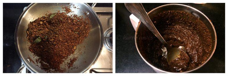 preparing roasted coconut paste
